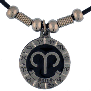 "Zodiac Necklace - Aries  - Siskiyou's zodiac pendants are on a beaded 24"" adjustable leather cord with a detailed pendant. Check out the entire line of Zodiac sign  necklaces!"