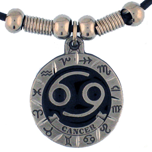 "Zodiac Necklace - Cancer  - Siskiyou's zodiac pendants are on a beaded 24"" adjustable leather cord with a detailed pendant. Check out the entire line of Zodiac sign  necklaces!"