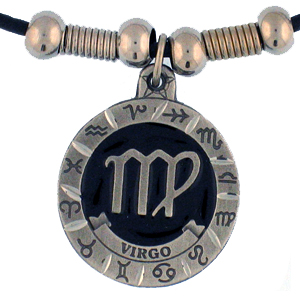 "Zodiac Necklace - Virgo  - Siskiyou's zodiac pendants are on a beaded 24"" adjustable leather cord with a detailed pendant. Check out the entire line of Zodiac sign  necklaces!"
