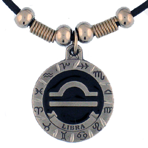 "Zodiac Necklace - Libra  - Siskiyou's zodiac pendants are on a beaded 24"" adjustable leather cord with a detailed pendant. Check out the entire line of Zodiac sign  necklaces!"