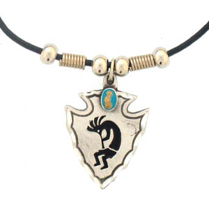 "Leather Cord Necklace - Kokopelli on Arrowhead - Siskiyou's pendants are on a beaded 24"" adjustable leather cord with a detailed pendant. Check out the entire line of Zodiac sign  necklaces!"