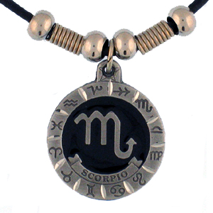 "Zodiac Necklace - Scorpio  - Siskiyou's zodiac pendants are on a beaded 24"" adjustable leather cord with a detailed pendant. Check out the entire line of Zodiac sign  necklaces!"