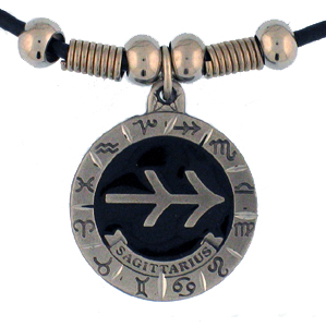 "Zodiac Necklace - Sagittarius  - Siskiyou's zodiac pendants are on a beaded 24"" adjustable leather cord with a detailed pendant. Check out the entire line of Zodiac sign  necklaces!"