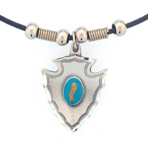 "Leather Cord Necklace - Arrowhead & Stone - Siskiyou's pendants are on a beaded 24"" adjustable leather cord with a detailed pendant. Check out the entire line of Zodiac sign  necklaces!"