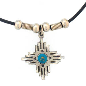 "Leather Cord Necklace - Southwestern Cross - Siskiyou's pendants are on a beaded 24"" adjustable leather cord with a detailed pendant. Check out the entire line of Zodiac sign  necklaces!"