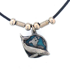 "Leather Cord Necklace - Whale & Earth - Siskiyou's pendants are on a beaded 24"" adjustable leather cord with a detailed pendant. Check out the entire line of Zodiac sign  necklaces!"