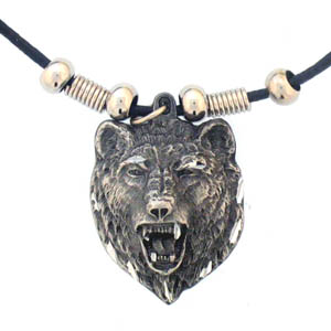 "Leather Cord Necklace - Bear Head - Siskiyou's pendants are on a beaded 24"" adjustable leather cord with a detailed pendant. Check out the entire line of Zodiac sign  necklaces!"