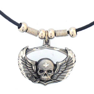 "Leather Cord Necklace - Skull & Wings - Siskiyou's pendants are on a beaded 24"" adjustable leather cord with a detailed pendant. Check out the entire line of Zodiac sign  necklaces!"