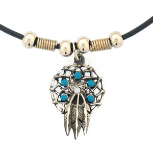 "Leather Cord Necklace - Dream Catcher - Siskiyou's pendants are on a beaded 24"" adjustable leather cord with a detailed pendant. Check out the entire line of Zodiac sign  necklaces!"