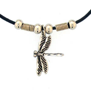 "Leather Cord Necklace - Dragonfly - Siskiyou's pendants are on a beaded 24"" adjustable leather cord with a detailed pendant. Check out the entire line of Zodiac sign  necklaces!"