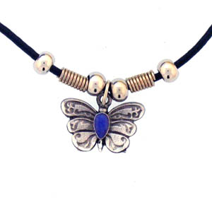 "Leather Cord Necklace - Butterfly - Siskiyou's pendants are on a beaded 24"" adjustable leather cord with a detailed pendant. Check out the entire line of Zodiac sign  necklaces!"