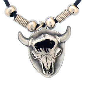 "Leather Cord Necklace - Bison Skull - Siskiyou's pendants are on a beaded 24"" adjustable leather cord with a detailed pendant. Check out the entire line of Zodiac sign  necklaces!"
