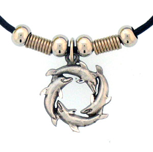 "Leather Cord Necklace - Dolphin Circle - Siskiyou's pendants are on a beaded 24"" adjustable leather cord with a detailed pendant. Check out the entire line of Zodiac sign  necklaces!"