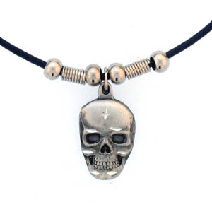 "Leather Cord Necklace - Skull Head - Siskiyou's pendants are on a beaded 24"" adjustable leather cord with a detailed pendant. Check out the entire line of Zodiac sign  necklaces!"