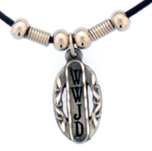 "Leather Cord Necklace - WWJD - Siskiyou's pendants are on a beaded 24"" adjustable leather cord with a detailed pendant. Check out the entire line of Zodiac sign  necklaces!"