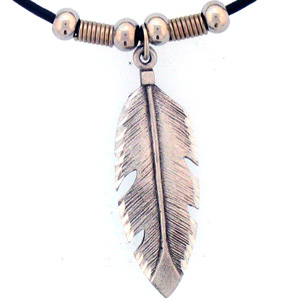 "Leather Cord Necklace - Feather - Siskiyou's pendants are on a beaded 24"" adjustable leather cord with a detailed pendant. Check out the entire line of Zodiac sign  necklaces!"