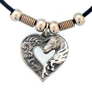 "Leather Cord Necklace - Horse in Heart - Siskiyou's pendants are on a beaded 24"" adjustable leather cord with a detailed pendant. Check out the entire line of Zodiac sign  necklaces!"