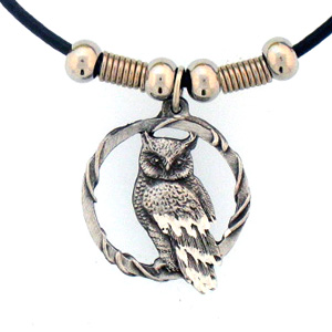 "Leather Cord Necklace - Owl - Siskiyou's pendants are on a beaded 24"" adjustable leather cord with a detailed pendant. Check out the entire line of Zodiac sign  necklaces!"