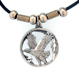 "Leather Cord Necklace - Flying Eagle - Siskiyou's pendants are on a beaded 24"" adjustable leather cord with a detailed pendant. Check out the entire line of Zodiac sign  necklaces!"