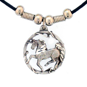 "Leather Cord Necklace - Unicorn - Siskiyou's pendants are on a beaded 24"" adjustable leather cord with a detailed pendant. Check out the entire line of Zodiac sign  necklaces!"