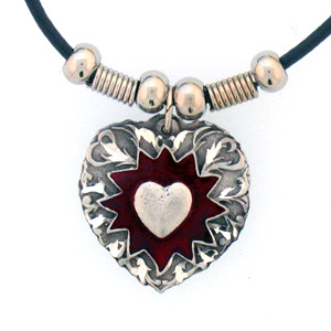 "Leather Cord Necklace - Exploding Heart - Siskiyou's pendants are on a beaded 24"" adjustable leather cord with a detailed pendant. Check out the entire line of Zodiac sign  necklaces!"