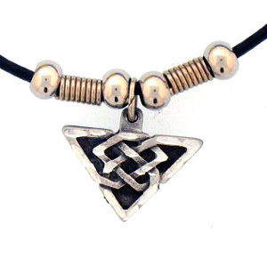 "Leather Cord Necklace - Celtic Triangle - Siskiyou's pendants are on a beaded 24"" adjustable leather cord with a detailed pendant. Check out the entire line of Zodiac sign  necklaces!"