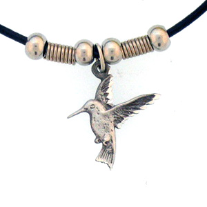 "Leather Cord Necklace - Hummingbird - Siskiyou's pendants are on a beaded 24"" adjustable leather cord with a detailed pendant. Check out the entire line of Zodiac sign  necklaces!"
