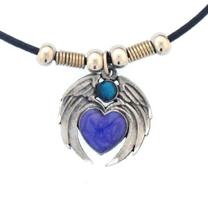 "Leather Cord Necklace - Heart with Wings - Siskiyou's pendants are on a beaded 24"" adjustable leather cord with a detailed pendant. Check out the entire line of Zodiac sign  necklaces!"