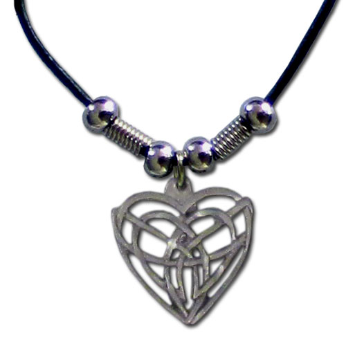 "Leather Cord Necklace - Celtic Heart - Siskiyou's pendants are on a beaded 24"" adjustable leather cord with a detailed pendant. Check out the entire line of Zodiac sign  necklaces!"