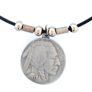 "Leather Cord Necklace - Indian Head Nickel - Siskiyou's pendants are on a beaded 24"" adjustable leather cord with a detailed pendant. Check out the entire line of Zodiac sign  necklaces!"