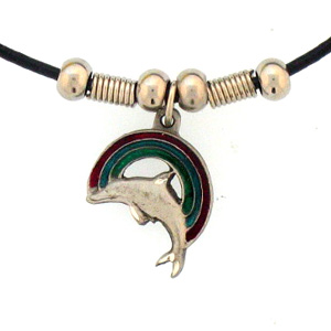 "Leather Cord Necklace - Rainbow & Dolphin - Siskiyou's pendants are on a beaded 24"" adjustable leather cord with a detailed pendant. Check out the entire line of Zodiac sign  necklaces!"