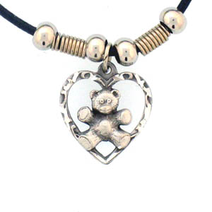 "Leather Cord Necklace - Teddy Bear   - Siskiyou's pendants are on a beaded 24"" adjustable leather cord with a detailed pendant. Check out the entire line of Zodiac sign  necklaces!"