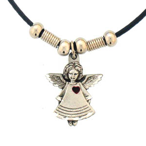 "Leather Cord Necklace - Angel - Siskiyou's pendants are on a beaded 24"" adjustable leather cord with a detailed pendant. Check out the entire line of Zodiac sign  necklaces!"