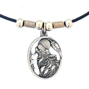 "Leather Cord Necklace - Howling Wolf - Siskiyou's pendants are on a beaded 24"" adjustable leather cord with a detailed pendant. Check out the entire line of Zodiac sign  necklaces!"
