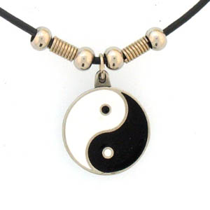 "Leather Cord Necklace - Yin Yang - Siskiyou's pendants are on a beaded 24"" adjustable leather cord with a detailed pendant. Check out the entire line of Zodiac sign  necklaces!"