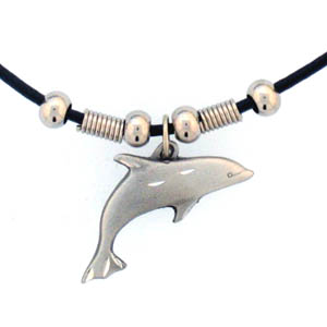 "Leather Cord Necklace - Dolphin - Siskiyou's pendants are on a beaded 24"" adjustable leather cord with a detailed pendant. Check out the entire line of Zodiac sign  necklaces!"