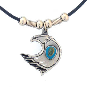 "Leather Cord Necklace - Eagle & Stone - Siskiyou's pendants are on a beaded 24"" adjustable leather cord with a detailed pendant. Check out the entire line of Zodiac sign  necklaces!"