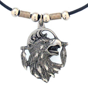 "Leather Cord Necklace - Eagle Head - Siskiyou's pendants are on a beaded 24"" adjustable leather cord with a detailed pendant. Check out the entire line of Zodiac sign  necklaces!"