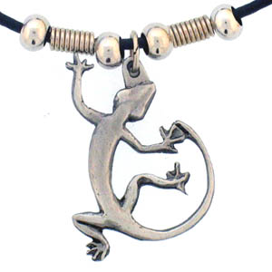 "Leather Cord Necklace - Lizard - Siskiyou's pendants are on a beaded 24"" adjustable leather cord with a detailed pendant. Check out the entire line of Zodiac sign  necklaces!"