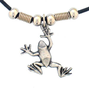 "Leather Cord Necklace - Frog - Siskiyou's pendants are on a beaded 24"" adjustable leather cord with a detailed pendant. Check out the entire line of Zodiac sign  necklaces!"