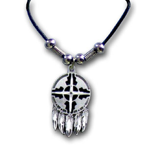 "Leather Cord Necklace - Indian Shield - Siskiyou's pendants are on a beaded 24"" adjustable leather cord with a detailed pendant. Check out the entire line of Zodiac sign  necklaces!"