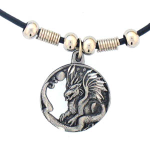 "Leather Cord Necklace - Dragon - Siskiyou's pendants are on a beaded 24"" adjustable leather cord with a detailed pendant. Check out the entire line of Zodiac sign  necklaces!"