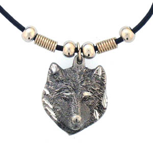 "Leather Cord Necklace - Wolf Head - Siskiyou's pendants are on a beaded 24"" adjustable leather cord with a detailed pendant. Check out the entire line of Zodiac sign  necklaces!"