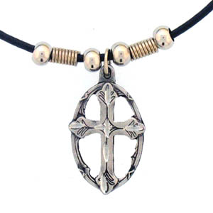 "Leather Cord Necklace - Cross in Oval - Siskiyou's pendants are on a beaded 24"" adjustable leather cord with a detailed pendant. Check out the entire line of Zodiac sign  necklaces!"