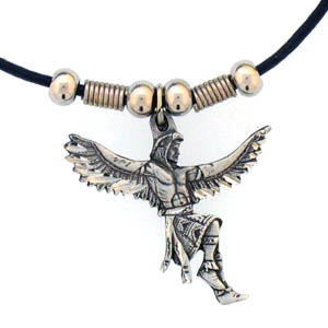 "Leather Cord Necklace - Indian Dancer - Siskiyou's pendants are on a beaded 24"" adjustable leather cord with a detailed pendant. Check out the entire line of Zodiac sign  necklaces!"