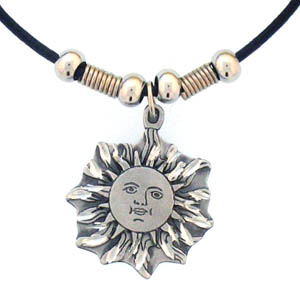 "Leather Cord Necklace - Sun Face - Siskiyou's pendants are on a beaded 24"" adjustable leather cord with a detailed pendant. Check out the entire line of Zodiac sign  necklaces!"
