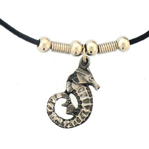 "Leather Cord Necklace - Sea Horse - Siskiyou's pendants are on a beaded 24"" adjustable leather cord with a detailed pendant. Check out the entire line of Zodiac sign  necklaces!"
