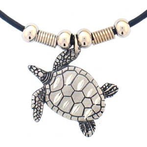 "Leather Cord Necklace - Turtle - Siskiyou's pendants are on a beaded 24"" adjustable leather cord with a detailed pendant. Check out the entire line of Zodiac sign  necklaces!"