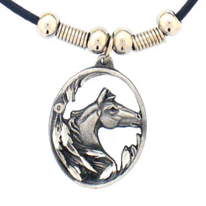 "Leather Cord Necklace - Horse Head in Oval - Siskiyou's pendants are on a beaded 24"" adjustable leather cord with a detailed pendant. Check out the entire line of Zodiac sign  necklaces!"