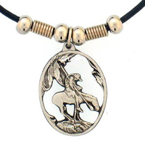 "Leather Cord Necklace - End of the Trail - Siskiyou's pendants are on a beaded 24"" adjustable leather cord with a detailed pendant. Check out the entire line of Zodiac sign  necklaces!"